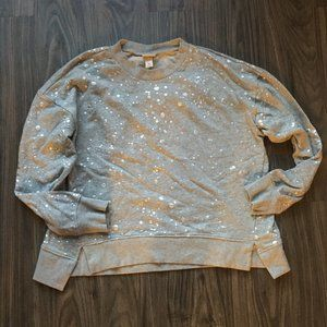 Mossimo Metallic Splatter Grey Crewneck